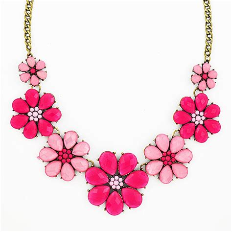 pink necklace pink flower necklace floral statement bib necklace by