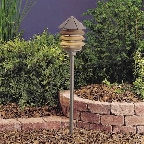 120v Landscape Lighting Kichler 15205azt Six Groove 120v Three Tier Path Spread Light