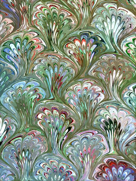 Peacock Shell Pattern Abstract Digital Art by Karon Melillo DeVega