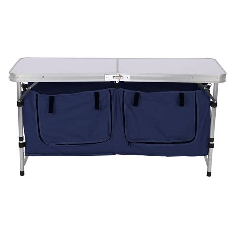 Folding Table With Storage Picnic Portable Adjusable Aluminum Folding Table Storage Bag Fr Bbq Cookout C Ebay
