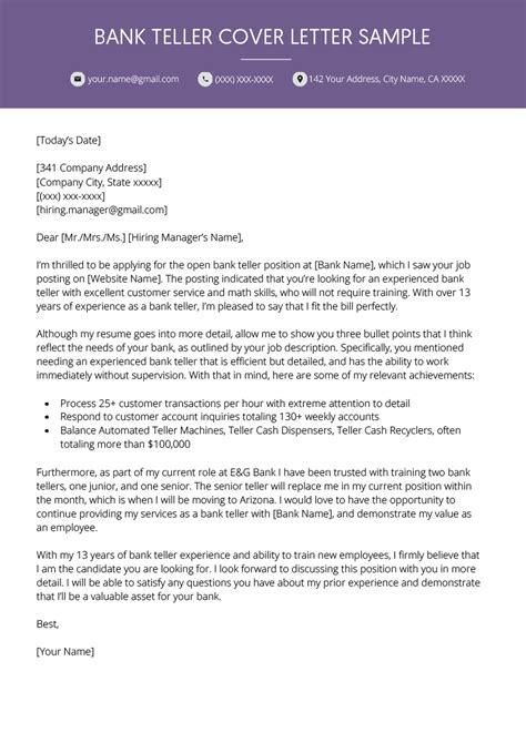 bank teller cover letter resume genius