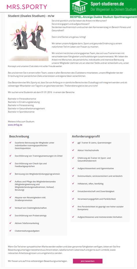 Bewerbung Gesundheitsmanagement Duales Studium Sportmanagement Infos Studieng 228 Nge