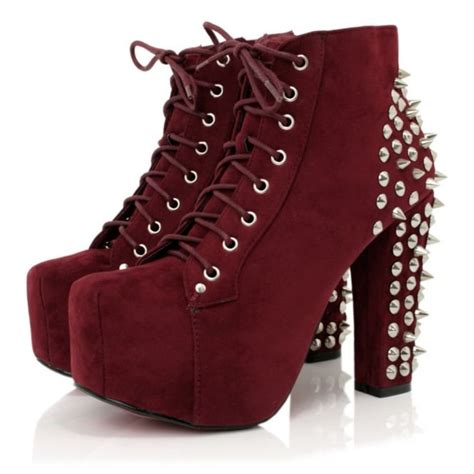 burgundy suede style spiked ankle boots buy burgundy