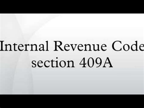 section 409a irs internal revenue code section 409a youtube
