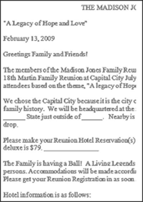 family reunion welcome letter template family reunion letter sles