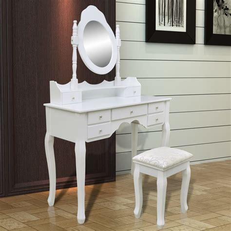 lade specchio vidaxl nl kaptafel met spiegel kruk met 7 lades wit