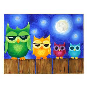 Hipster Nursery Original Painting Owls On A Fence Whimsical Art Art For
