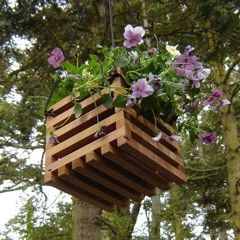 hanging planter basket recycled wood hanging basket planter