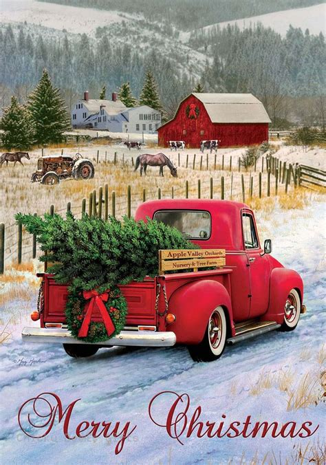 red christmas vintage pick ups for sale custom decor original garden flag truck mpn 2939fm size 12 in x 18 in material