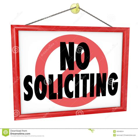 no soliciting sign prohibit uninvited salespeople