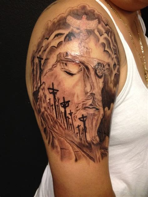 jesus face cross tattoo christian tattoos designs pictures page 31