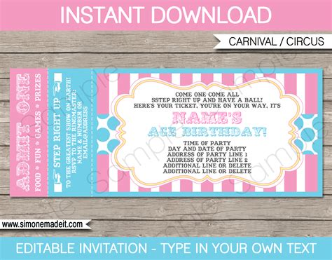 carnival tickets template free printable carnival ticket invitations template carnival circus