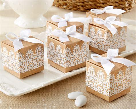 wedding supplies quot rustic lace quot kraft favor box set of 24