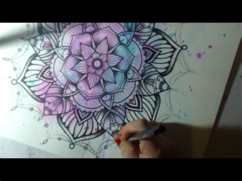 watercolor tattoo youtube mandala 2 watercolor and pen style speed drawing