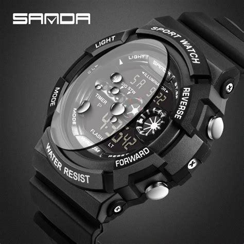 Jam Tangan Pria Wanita G Shock Black sanda jam tangan sporty pria sd 320 black