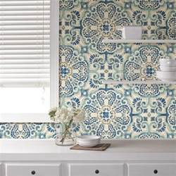 Area Rugs 5 X 7 Nuwallpaper Blue Florentine Tile Peel And Stick Wallpaper