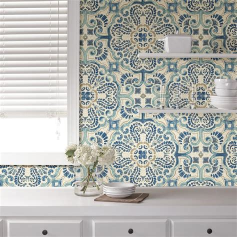 peel and stick wallpaper tiles nuwallpaper blue florentine tile peel and stick wallpaper