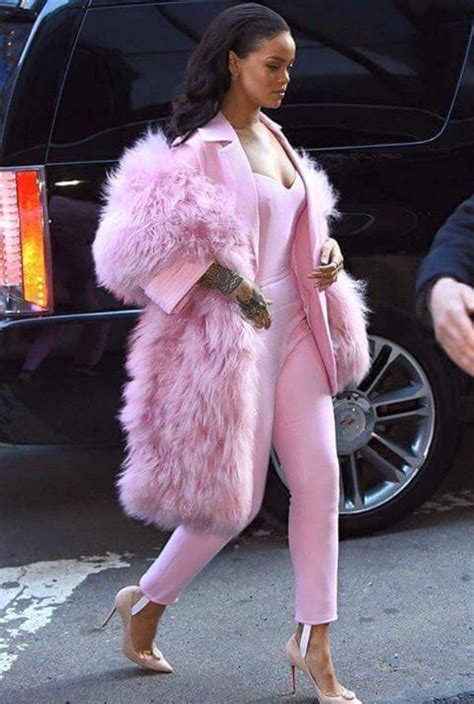 celebrity pink winter jacket coat pink fluffy coat jacket jumpsuit pink rihanna