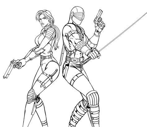 snake eyes coloring pages scarlett snake eyes lineart by josephb222 on deviantart