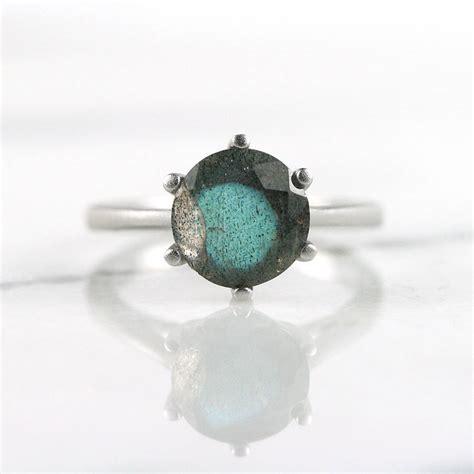 silver labradorite gemstone ring by house of yve