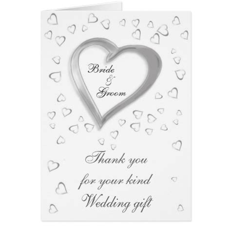 Thank You Card Wedding Gift - wedding gift thank you card zazzle