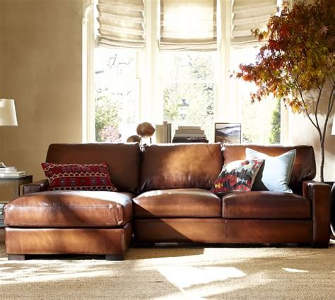 Leather Sectional Sleeper Sofa With Chaise Turner Square Arm Leather Sofa With Chaise Sectional Pottery Barn