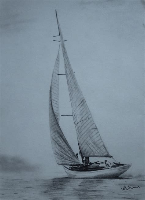 boat ocean drawing 30 sailing yacht sketch full sails misty shore water