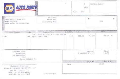 Car Parts Receipt Spredsheet Template by Auto Parts Receipt Auto Repair Invoice Auto Parts