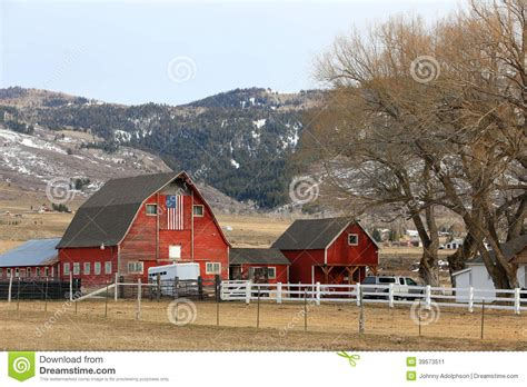 Barn In The Usa Winter Barn With American Flag Stock Image Image 39573511