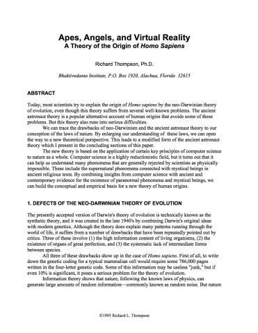 """(1995). """"Apes, Angels, and Virtual Reality: A Theory of"""