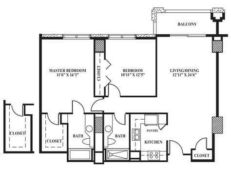 Floor Plans With Two Master Bedrooms floor plan d 1 034 sq ft the towers on park lane