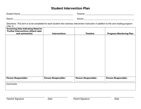 academic plan template student intervention plan pictures to pin on