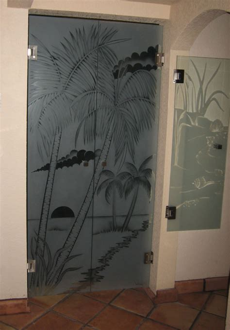 Etched Glass Shower Doors by Etched Glass Shower Doors