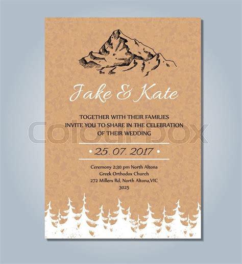 rustic tree card template mountain wedding invitation vector rustic card template