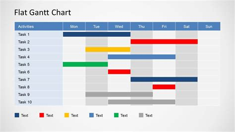 gantt chart template flat gantt chart for powerpoint daily planning slidemodel