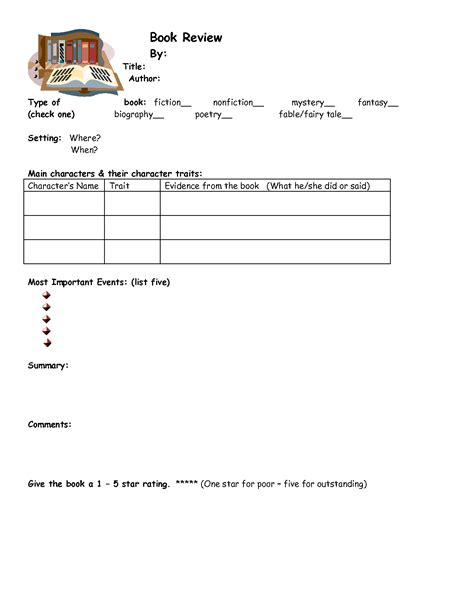 elementary book report 7 best images of printable elementary book report template