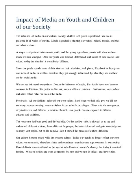 Essay On Impact Of Social Media On Todays Youth by Impact Of Media On Youth And Children Of Our Society