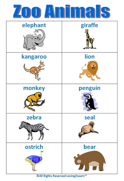 printable animal words zoo animal games books word cards and learning videos