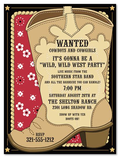 Free Templates For Cowboy Invitations | cowboy invitations template best template collection