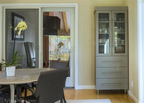 modern dining hutch etched glass doors sophisticated