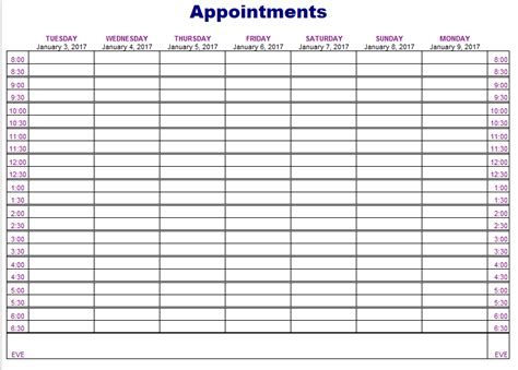 Appointment Schedules Templates Beneficialholdings Info Appointment Scheduling Template