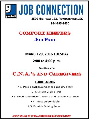 comfort keepers hourly rate march job fairs powdersville sc