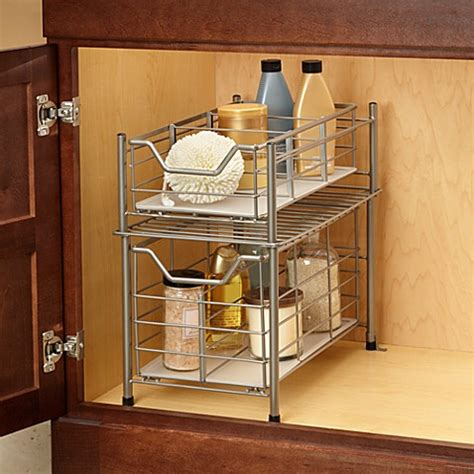 under cabinet organizer bathroom deluxe bathroom cabinet drawer bedbathandbeyond ca
