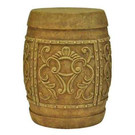 mpg 19 in h cast carved garden stool in antique
