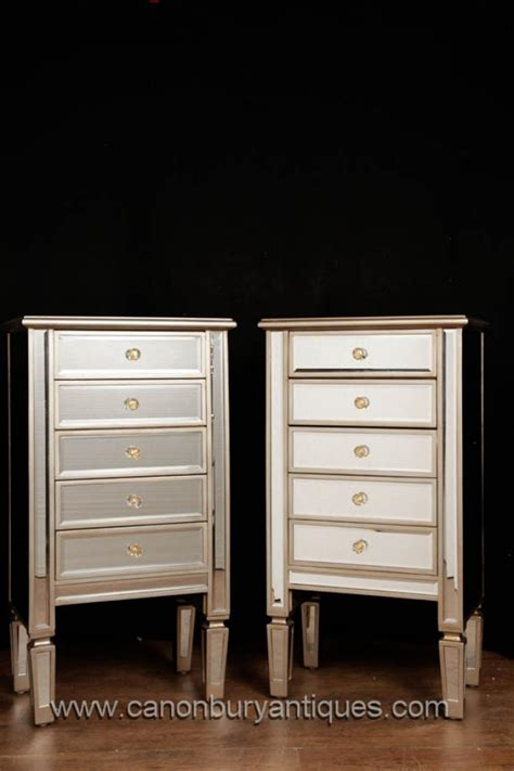 pair mirrored chests  drawers art deco nightstands