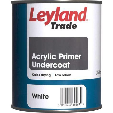 acrylic paint primer leyland trade acrylic primer undercoat paint white 750ml