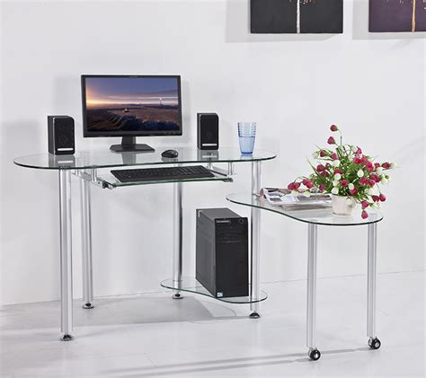stylish home office desk tempered glass desktop computer stylish home office table