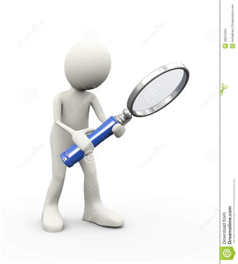 oc white magnifying l 3d person holding large magnifier stock illustration