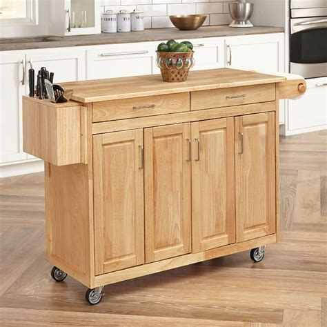 kitchen islands on casters shop home styles 54 in l x 18 5 in w x 36 25 in h natural