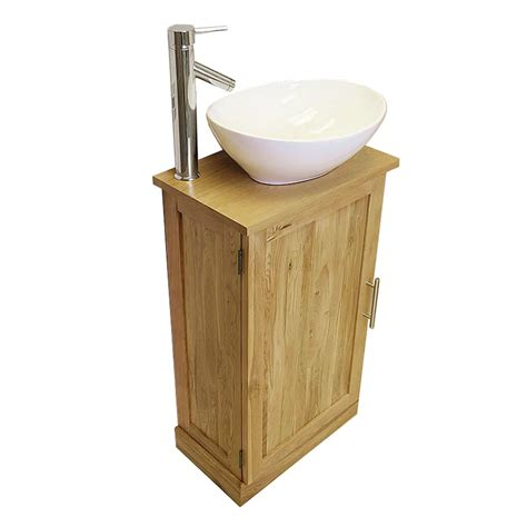 50 slimline cloakroom oak vanity unit with basin